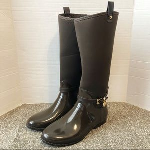 Michael Kors brown stretch neoprene rain boot 10